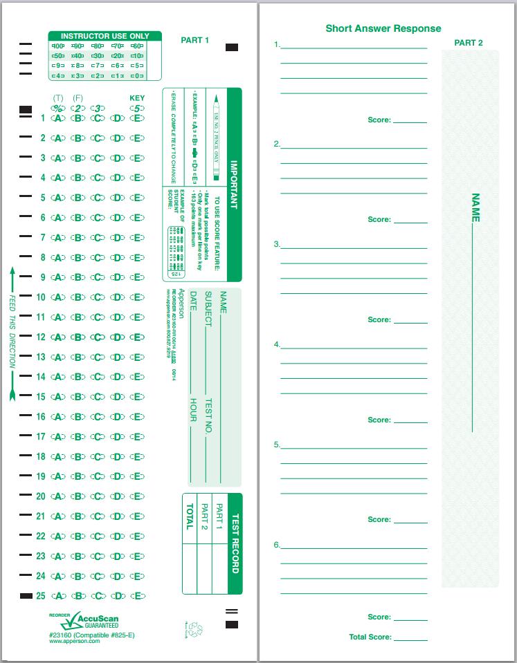 Apperson's Scantron 25 Q Compatible Form 825-E (23160)