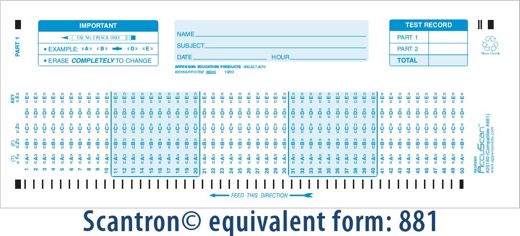 Apperson's Scantron 50 Q Compatible Form 881 (25160)