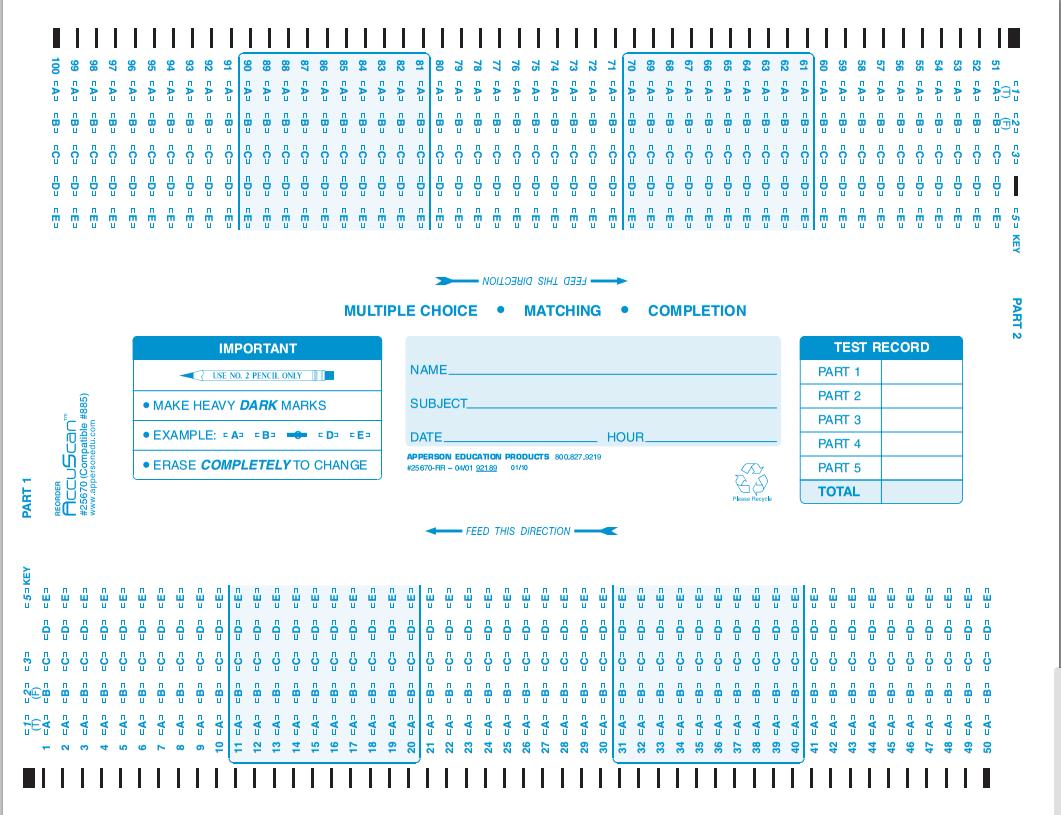 Apperson's Scantron 150 Q Compatible Form 885 (25670)