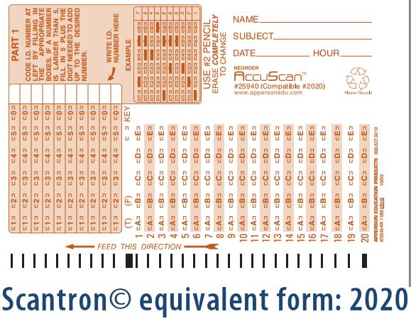 Apperson's Scantron 20 Q Compatible Form 2020 (25940)