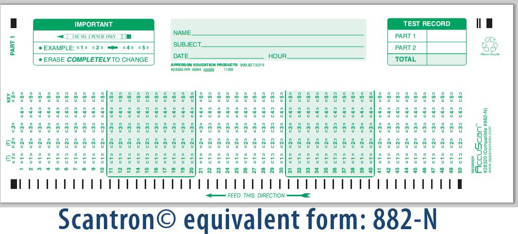 Apperson's Scantron 100 Q Compatible Form 882-N (28320)
