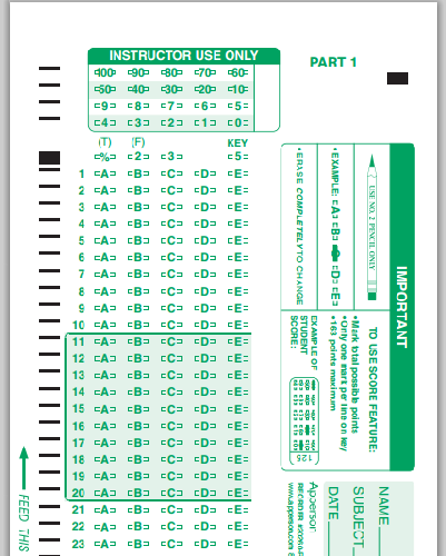 Scantron™ Compatible Answer Sheet and Forms Catalog